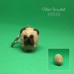 Pug Dog Keychain - needle felted mini sculpture