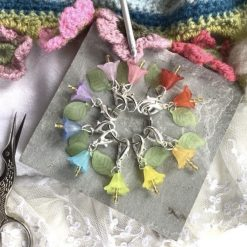 10 rainbow lucite flower and leaf, lightweight stitch markers, keepers, holders - Handmade crochet stitch markers - made to order