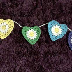 Crochet Heart Bunting Rainbow Colours