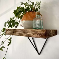 Handmade Rustic Scaffold Board Shelf with Hairpin Style Bracket (Made From Offcuts)
