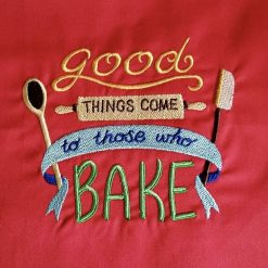 """'Professional CHEF Style' APRON ??? Handmade ??? EMBROIDERED Design """"GOOD THINGS come to Those who BAKE"""" ??? RED"""