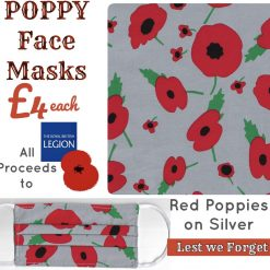 'PPE' Style POPPY Face Mask ? RED POPPIES on SILVER ? In support of Royal British Legion POPPY APPEAL ? Washable & Reusable (Eco-Friendly)?