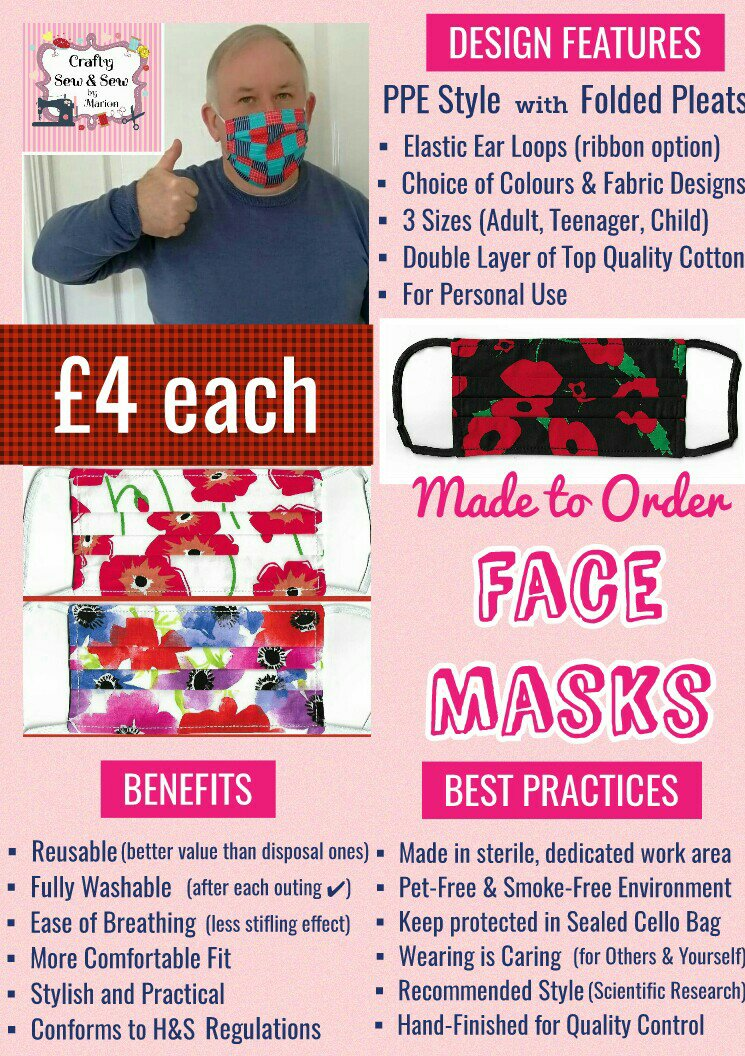 'PPE' Style FACE MASKS 🎄 Christmas CHARITY Collection 🎄 in support of The Alzheimer's Society 🎄 Washable & Reusable (Eco-Friendly) 🎄 Choice of Designs & Sizes 11