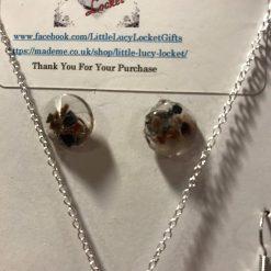 Resin Jewellery Set - Black Himalayan Rock Salt - Necklace & 2 Pairs of Earrings 2