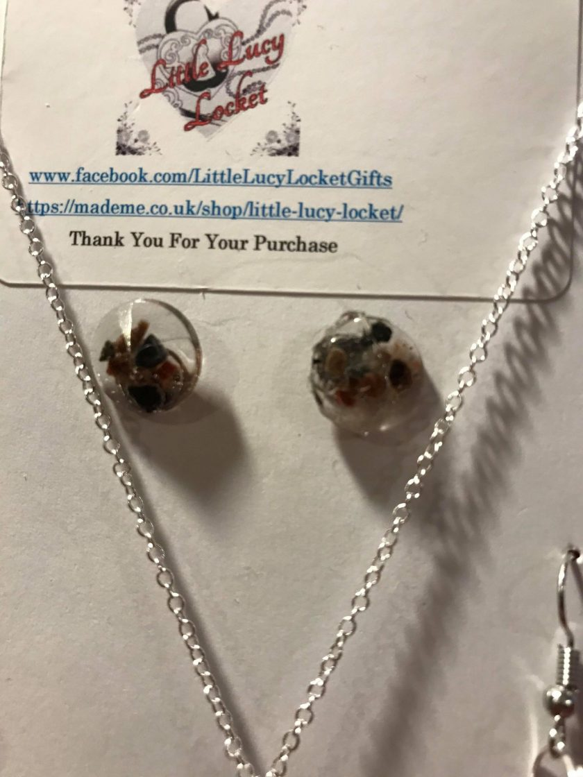 Resin Jewellery Set - Black Himalayan Rock Salt - Necklace & 2 Pairs of Earrings
