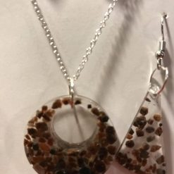 Resin Jewellery Set - Black Himalayan Rock Salt - Necklace & 2 Pairs of Earrings 1