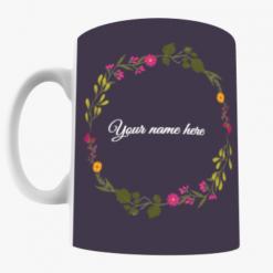 Black Floral Name Mug