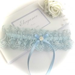 Wedding garter, Blue embroidered lace with blue bow