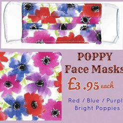 'PPE' Style POPPY Face Mask 🌺 BRIGHT Red / Blue / Purple POPPIES 🌺 Washable & Reusable (Eco-Friendly) 🌺 Choice of Sizes