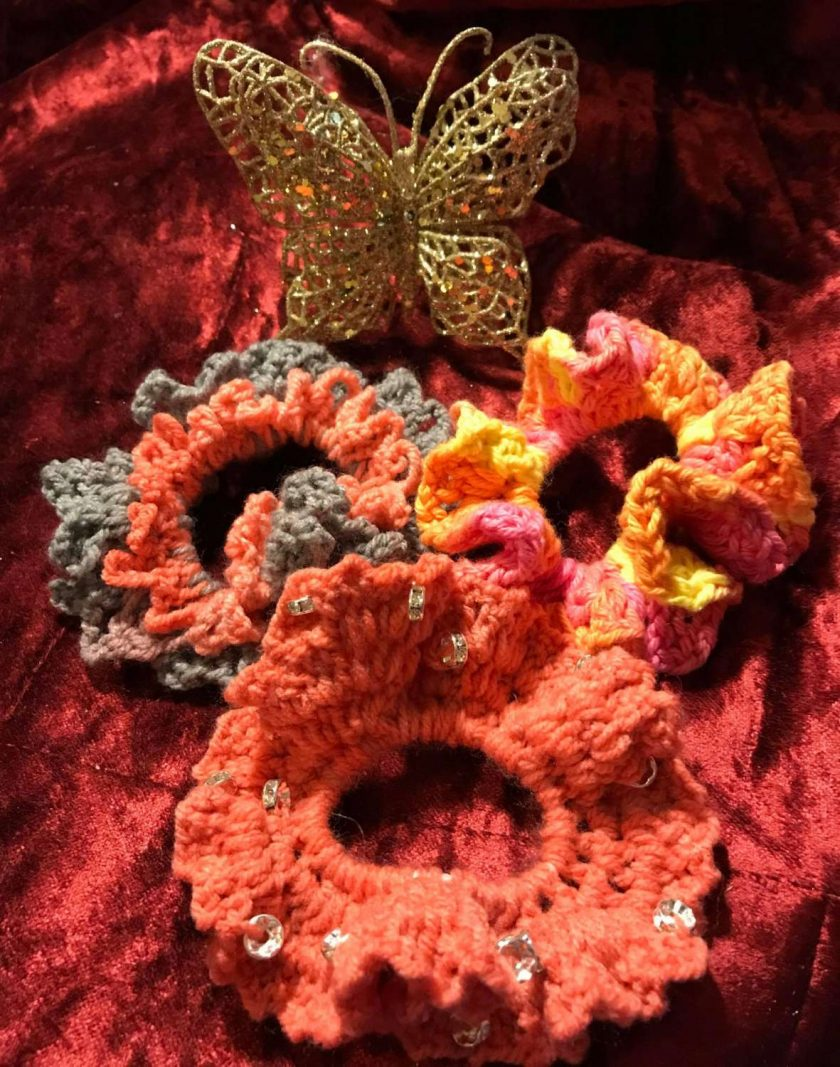 Set of Three Hand Crocheted Scrunchies - Coral and Multi Coloured
