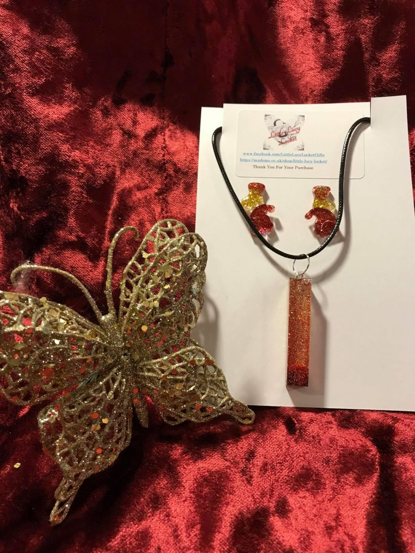Resin Jewellery - Christmas Pendant and 2 Pairs of Stud Earring Set - Red and Gold Glitter