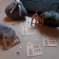 Church shaped Card Craft x 5 Peach Die-cut Toppers Embellishments