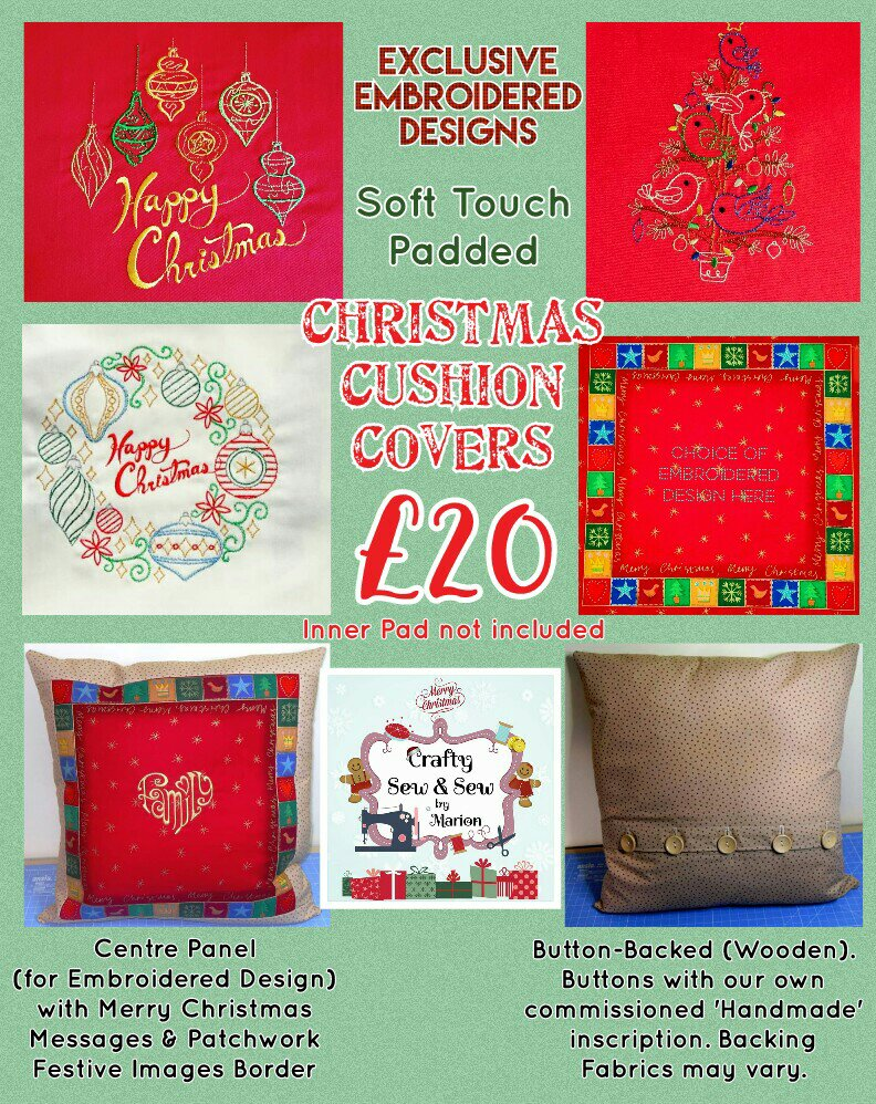 'Patchwork' Style ♥️ Soft Touch ♥️ FAMILY 💗 CHRISTMAS Cushion Cover ♥️ Exclusive EMBROIDERED Design ♥️ Quilted & Padded 6