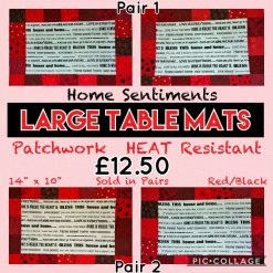 """""""Home Sentiments"""" TABLE Place MATS?Sold in Pairs (Two Sets Available)?Large 14"""" x 10""""?PATCHWORK Red/Black?HEAT RESISTANT Padded?Exclusive Design"""