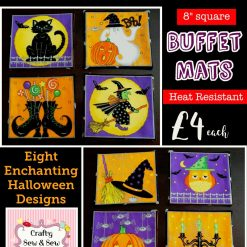 """HALLOWEEN Party 🎃 Table BUFFET Mats 🎃 8"""" Square 🎃 HEAT RESISTANT Padded?8 Designs?£4 each"""