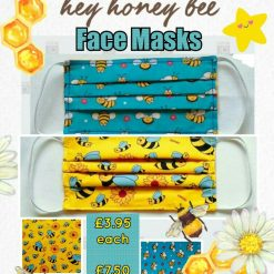 'PPE' Style FACE MASK (Eco-Friendly) 🐝 Washable & Reusable 🐝 HONEY BEE Design 🐝 Choice of Colours, Sizes & Accessories
