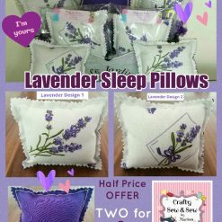 'Extended FIVER FRIDAY Offer' ? LAVENDER Filled SOFT Stuffed SLEEP PILLOWS ? TWO for£5 ? Lavender & Hearts Design