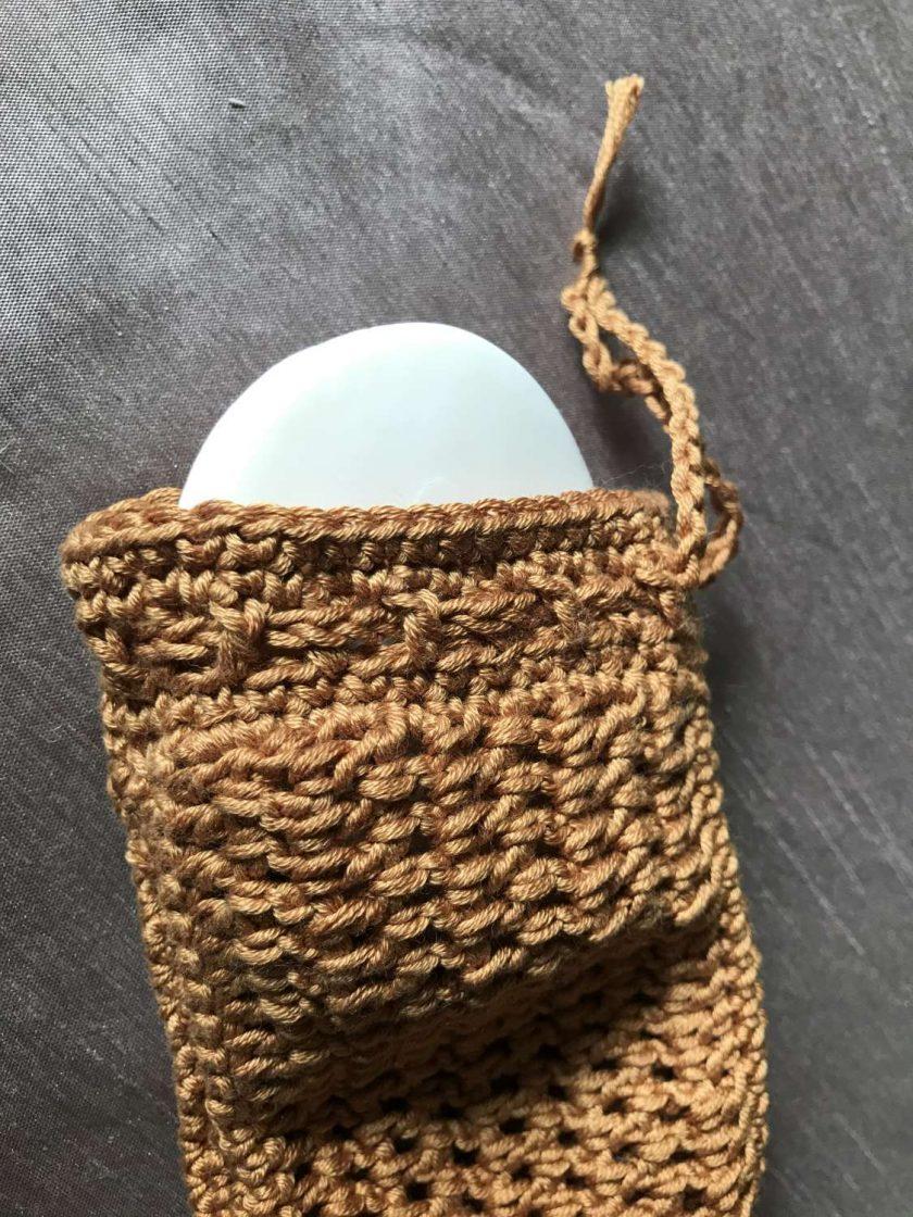 Crochet Soap Bag Brown 2