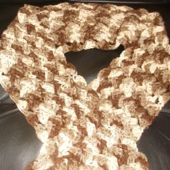 Crocheted Longer Length Scarf With Tassels Autumn Colours