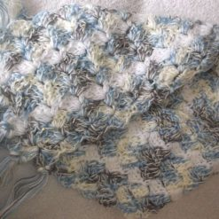 Crocheted Scarf With Tassels & Sequins