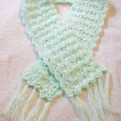 Crocheted Scarf With Tassels Mint Green
