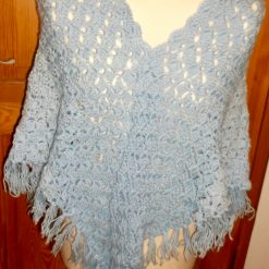 Crocheted Shawl With Tassels Blue Ombre Effect