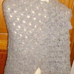 Crocheted Shawl With Single Tassel Grey & Purple