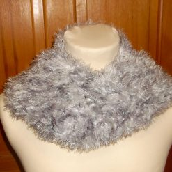 Silver Grey & White Crocheted Fluffy Scarf Without Tassels