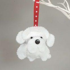 Felt Bichon Frise Dog, Cute Button nosed dog, Hanging Decoration, Dog Lovers Gift