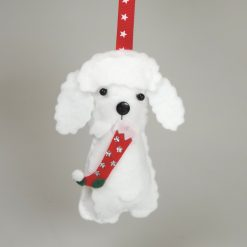 Felt Bichon Frise Dog, Cute Button nosed dog, carrying a Christmas stocking, Hanging Decoration, Dog Lovers Gift