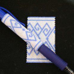 Delf Blue Even Count Peyote Pen Cover