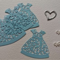 Tattered Lace Floral Dress Card Craft x 4 Light Blue Die-cut Topper Embellishments