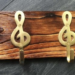 Rustic handcrafted reclaimed coat rack - music theme
