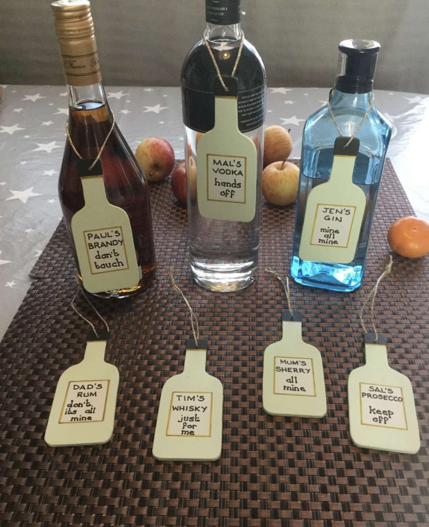 Fun Bottle Plaques for your Gin,Vodka,Sherry,Brandy,Whisky,etc. Personalised for you. 1