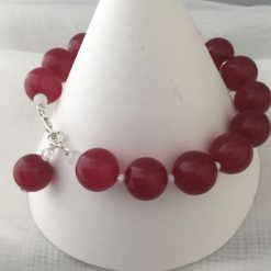 Gemstone Bracelet Red Coloured Quarts Beads with Silver Charm 6