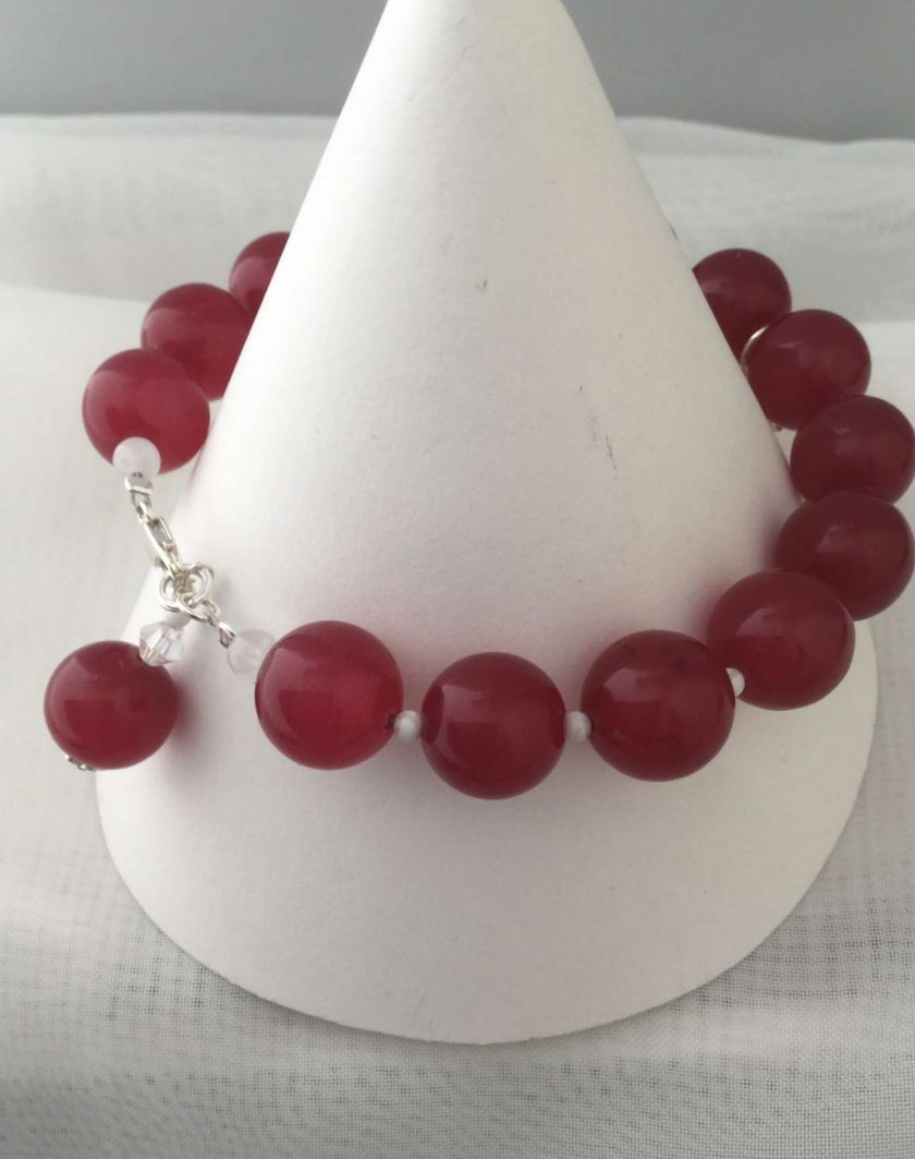 Gemstone Bracelet Red Coloured Quarts Beads with Silver Charm 2