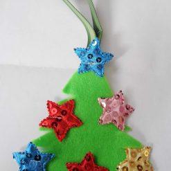 Handmade felt Christmas tree decorations.