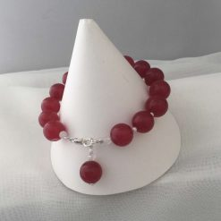 Gemstone Bracelet Red Coloured Quarts Beads with Silver Charm 8