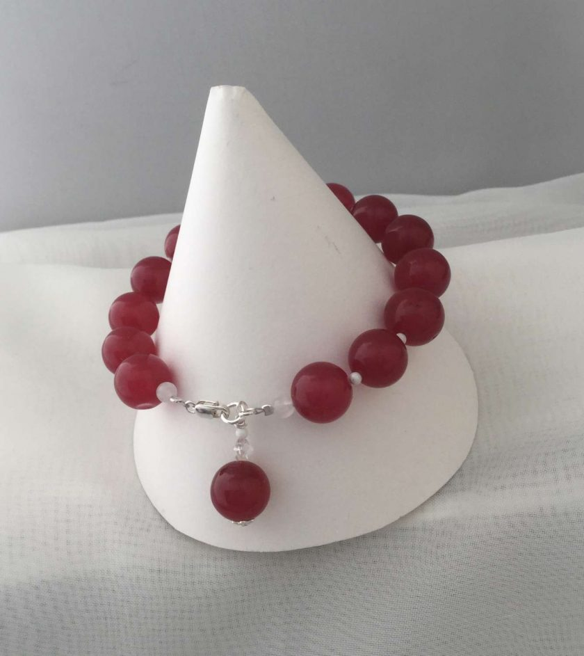 Gemstone Bracelet Red Coloured Quarts Beads with Silver Charm 4