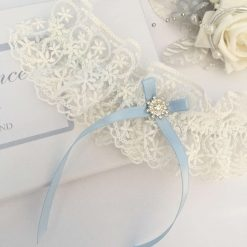 Wedding garter, Ivory embroidered lace with blue bow