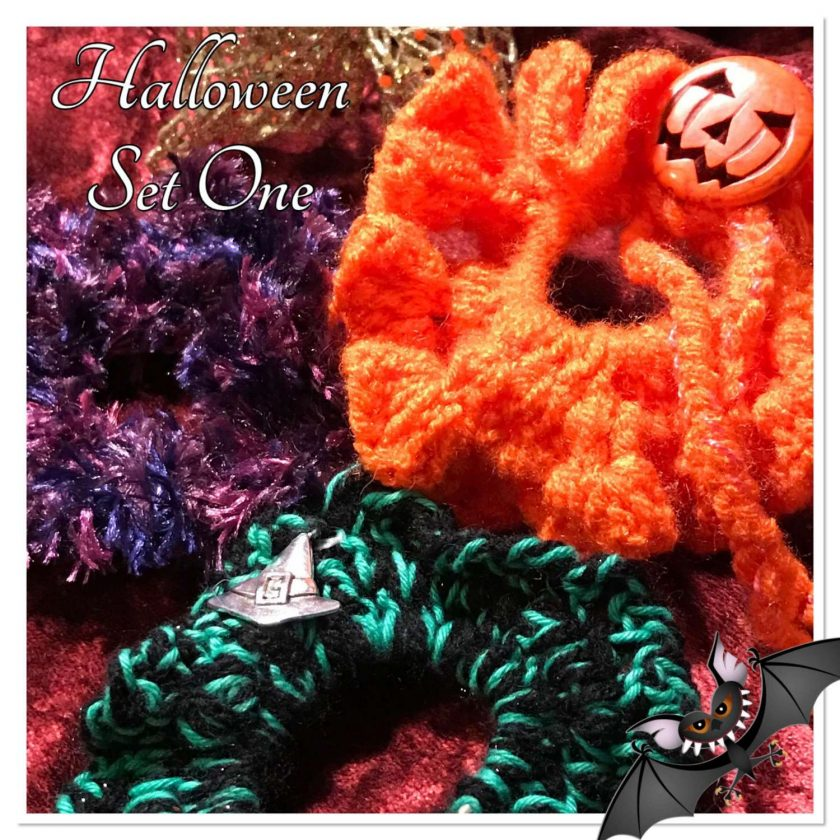 Set of Three Hand Crocheted Scrunchies - Halloween Set Two