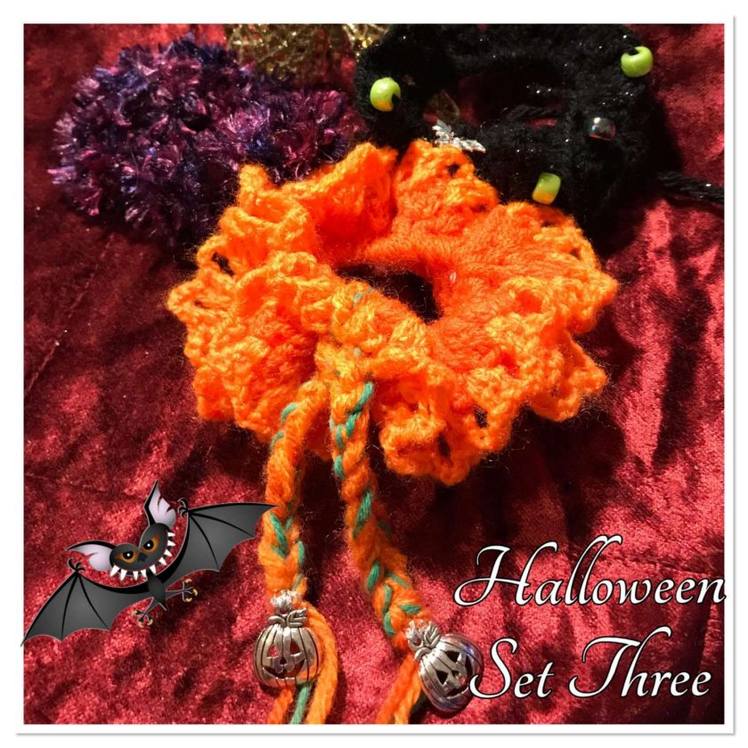 Set of Three Hand Crocheted Scrunchies - Halloween Three