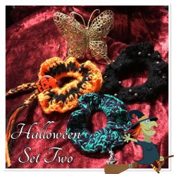 Set of Three Hand Crocheted Scrunchies - Halloween Set Two