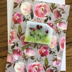 'Fantasy Garden' Hand Crafted Fused Glass Fridge Magnet on a Greetings Card