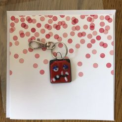 Fused Glass 'Monster on a card' Key Ring/Bag Charm Red