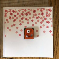 Fused Glass 'Monster on a card' Magnetic Charm Orange