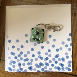 Fused Glass 'Monster on a card' Key Ring/Bag Charm Pale Green