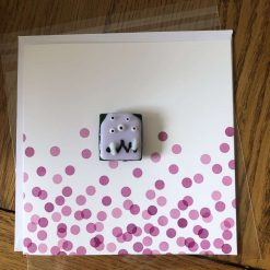 Fused Glass 'Monster on a card' Magnetic Charm Pink