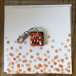 Fused Glass 'Monster on a card' Key Ring/Bag Charm Orange