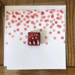 Fused Glass 'Monster on a card' Key Ring/Bag Charm Orange